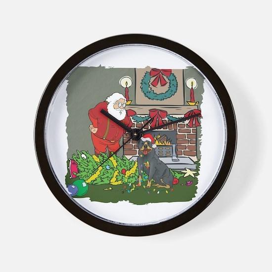 Santa's Helper Rottweiler Wall Clock
