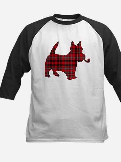Scottish Terrier Tartan Kids Baseball Jersey