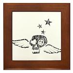 Peace & Love Skull with Wings Framed Tile