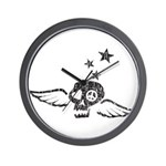 Peace & Love Skull with Wings Wall Clock
