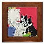 Drinking Buddies Boston Terriers Framed Tile