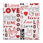 Love WordsHearts Tile Coaster
