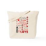 Love WordsHearts Tote Bag