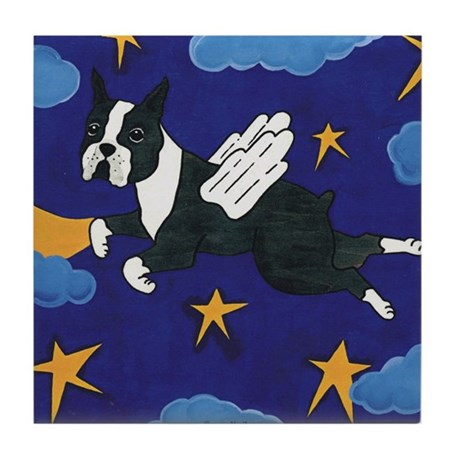 Flying Angel Boston Terrier Tile Coaster
