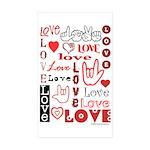Love WordsHearts Rectangle Sticker 50 pk)