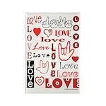 Love WordsHearts Rectangle Magnet (10 pack)