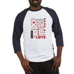 Love WordsHearts Baseball Jersey
