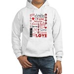 Love WordsHearts Hooded Sweatshirt