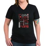Love WordsHearts Women's V-Neck Dark T-Shirt