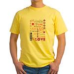 Love WordsHearts Yellow T-Shirt