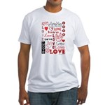 Love WordsHearts Fitted T-Shirt