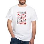 Love WordsHearts White T-Shirt