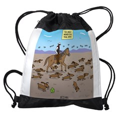 The Great Wiener Dog Trail Drive Drawstring Bag