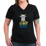 Kimono Cow Women's V-Neck Dark T-Shirt