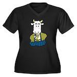 Kimono Cow Women's Plus Size V-Neck Dark T-Shirt