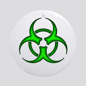 Neon Green Biohazard Symbol Ornament (Round)