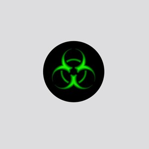 Neon Green Biohazard Symbol Mini Button