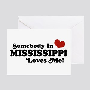 Somebody in Mississippi Loves Me Greeting Cards (P