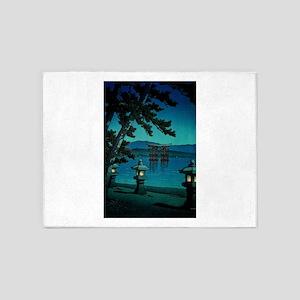 Japanese Moonlit Night Gate Sea 5'x7'Area Rug