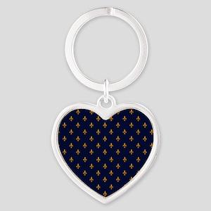 Navy Blue & Gold Fleur-de-Lis Patte Heart Keychain