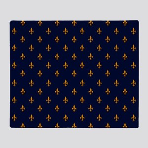 Navy Blue & Gold Fleur-de-Lis Patter Throw Blanket