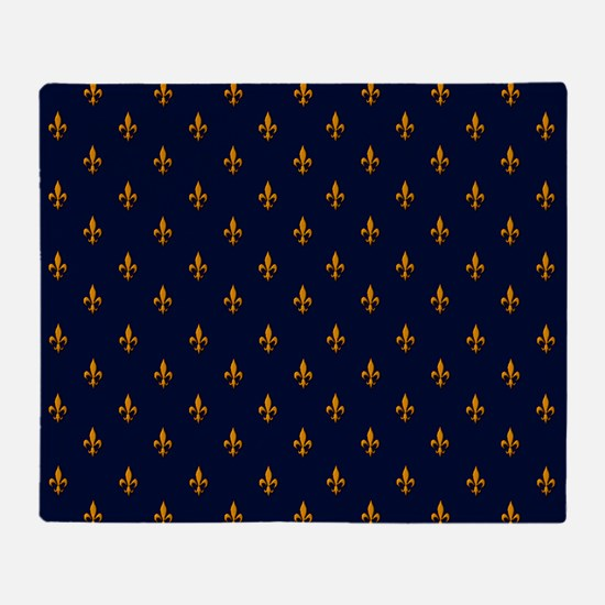 Navy Blue & Gold Fleur-de-Lis Patter Throw Blanket
