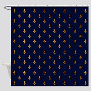 Navy Blue Gold Fleur De Lis Patte Shower Curtain