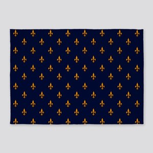 Navy Blue & Gold Fleur-de-Lis Patte 5'x7'Area Rug
