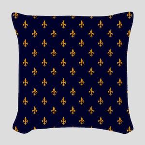 Navy Blue & Gold Fleur-de-Lis Woven Throw Pillow