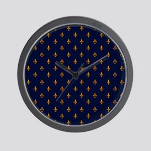 Navy Blue & Gold Fleur-de-Lis Pattern Wall Clock