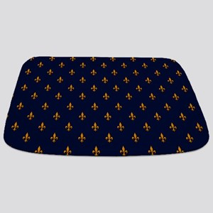 Navy Blue & Gold Fleur-de-Lis Pattern Bathmat