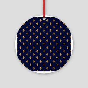 Navy Blue & Gold Fleur-de-Lis Patte Round Ornament