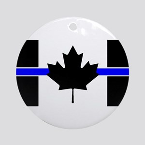Canadian Police: Thin Blue Line Round Ornament