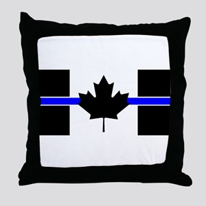 Canadian Police: Thin Blue Line Throw Pillow