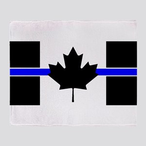 Canadian Police: Thin Blue Line Throw Blanket