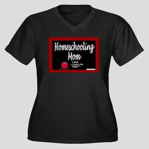 Homeschooling Mom Women's Plus Size V-Neck Dark T-