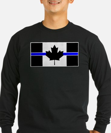 Canadian Police: Thin Blue Line Long Sleeve T-Shir