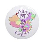 Altay China Map Ornament (Round)