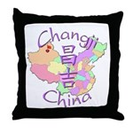 Changji China Map Throw Pillow