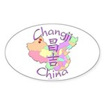 Changji China Map Oval Sticker (10 pk)