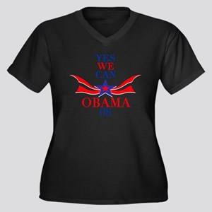 Yes, We CAN! Obama T-Shirt Women's Plus Size V-Nec