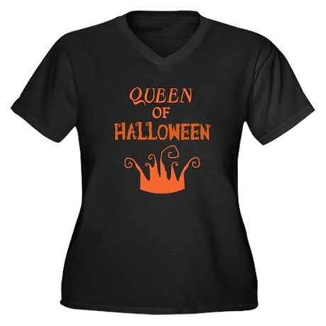 Queen of Halloween Women's Plus Size V-Neck Dark T