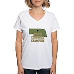 Nebraska State Cornhole Champ Women's V-Neck T-Shi