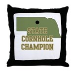 Nebraska State Cornhole Champ Throw Pillow