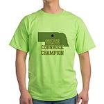 Nebraska State Cornhole Champ Green T-Shirt