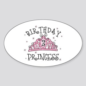 Tiara Birthday Princess 3rd Oval Sticker