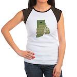 Rhode Island State Cornhole C Women's Cap Sleeve T