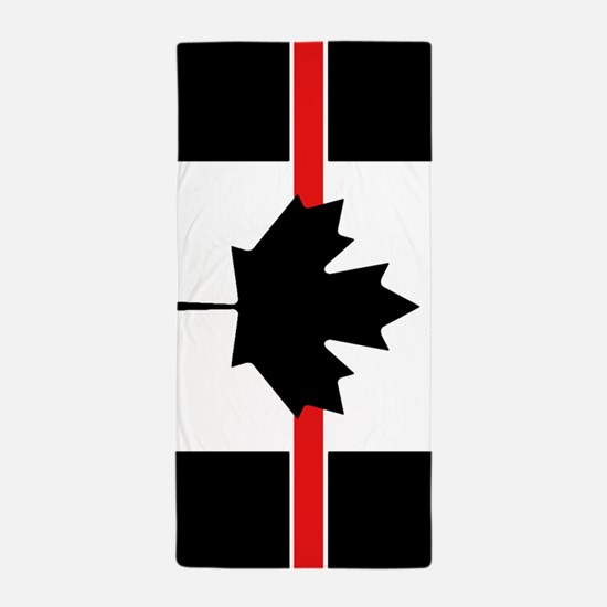 Canadian Firefighter: Thin Red Line Beach Towel