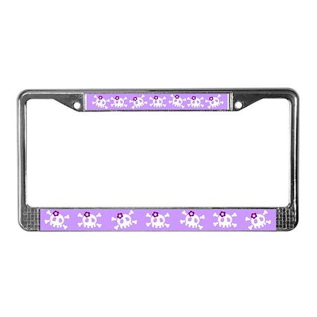 Lilac Skull License Plate Frame