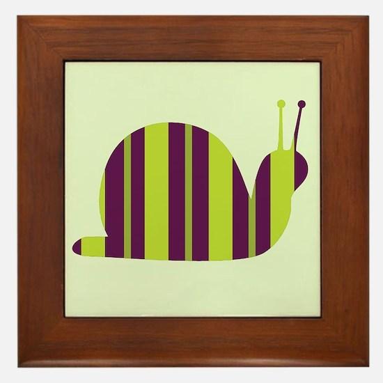 Slow Movin' Retro Snail Framed Tile
